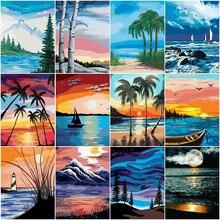 HUACAN DIY boya ağacı manzara HandPainted kitleri çizim tuval resimleri ev dekorasyon yağlıboya yaz hediye