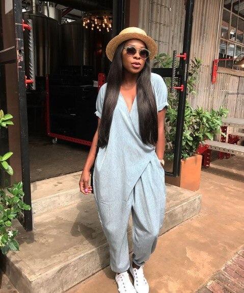 2019 New Fashion Women Loose V Neck Jumpsuits For Women Pure Color Oversize Black Jumpsuit Harem Fashion Nova Woman