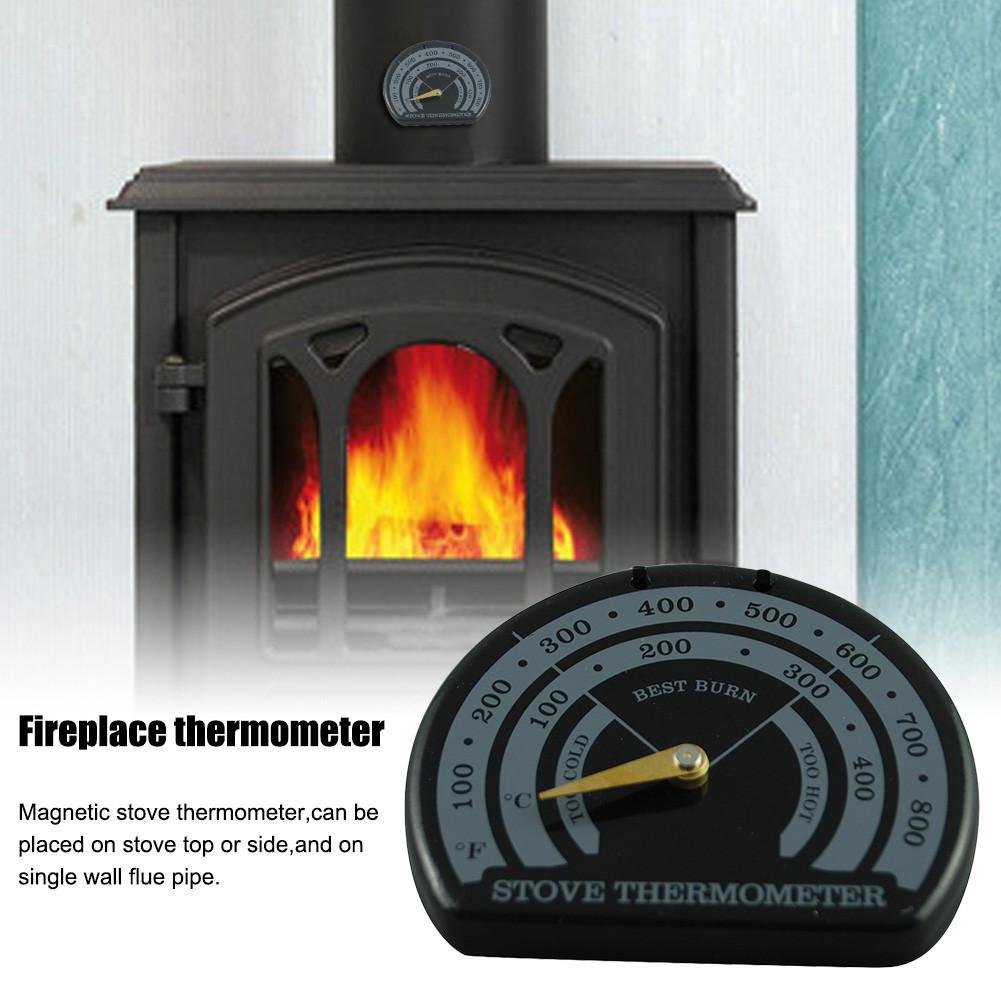 Magnetic Stove Flue Pipe Thermometer Multi Fuel Woodstove Woodburner Stove Pipe Fan Thermometer Stove Burn Indicator Free Ship