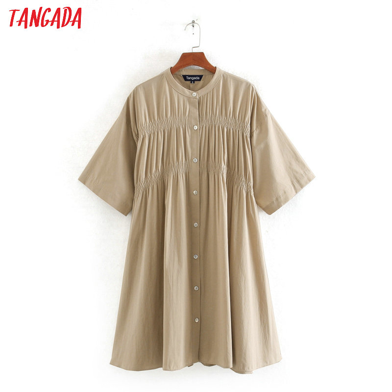 Tangada Fashion Women Solid Khaki Cotton Dress Summer Short Sleeve Ladies Vintage Loose Dress Vestidos CE240
