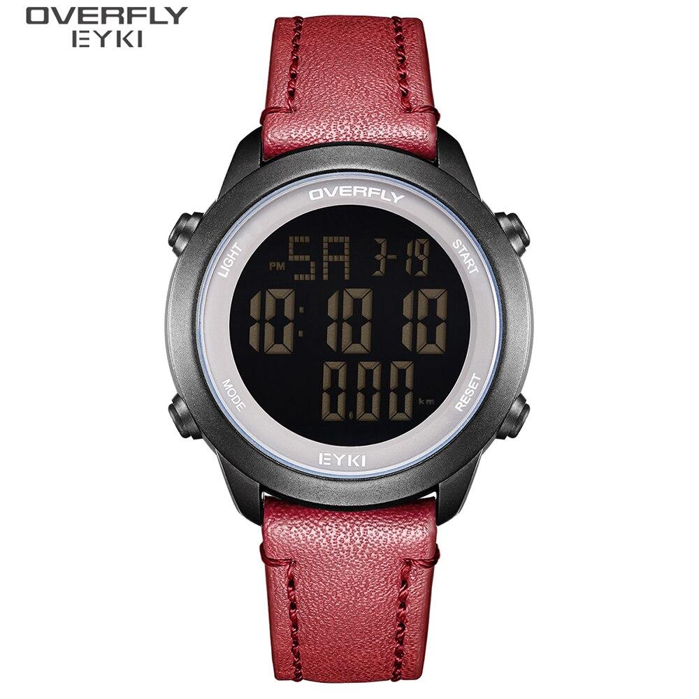 EYKI модные уличные спортивные часы Для мужчин многофункциональные часы будильник цифровые электронные часы, кожаный ремешок, наручные часы ...