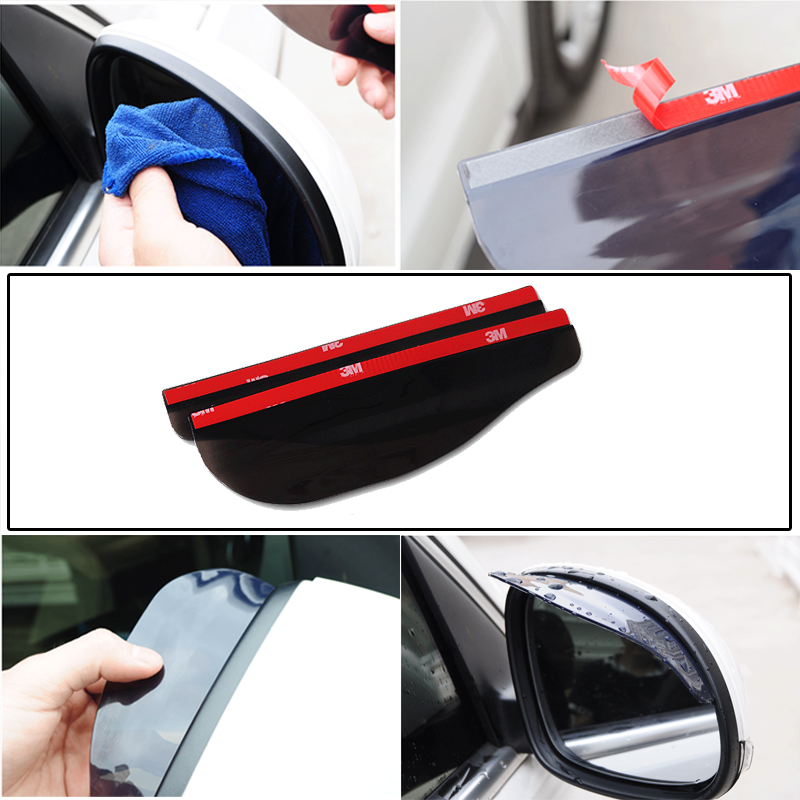 2 uds PVC coche espejo retrovisor pegatina lluvia ceja intemperie Auto espejo lluvia Protector de pantalla