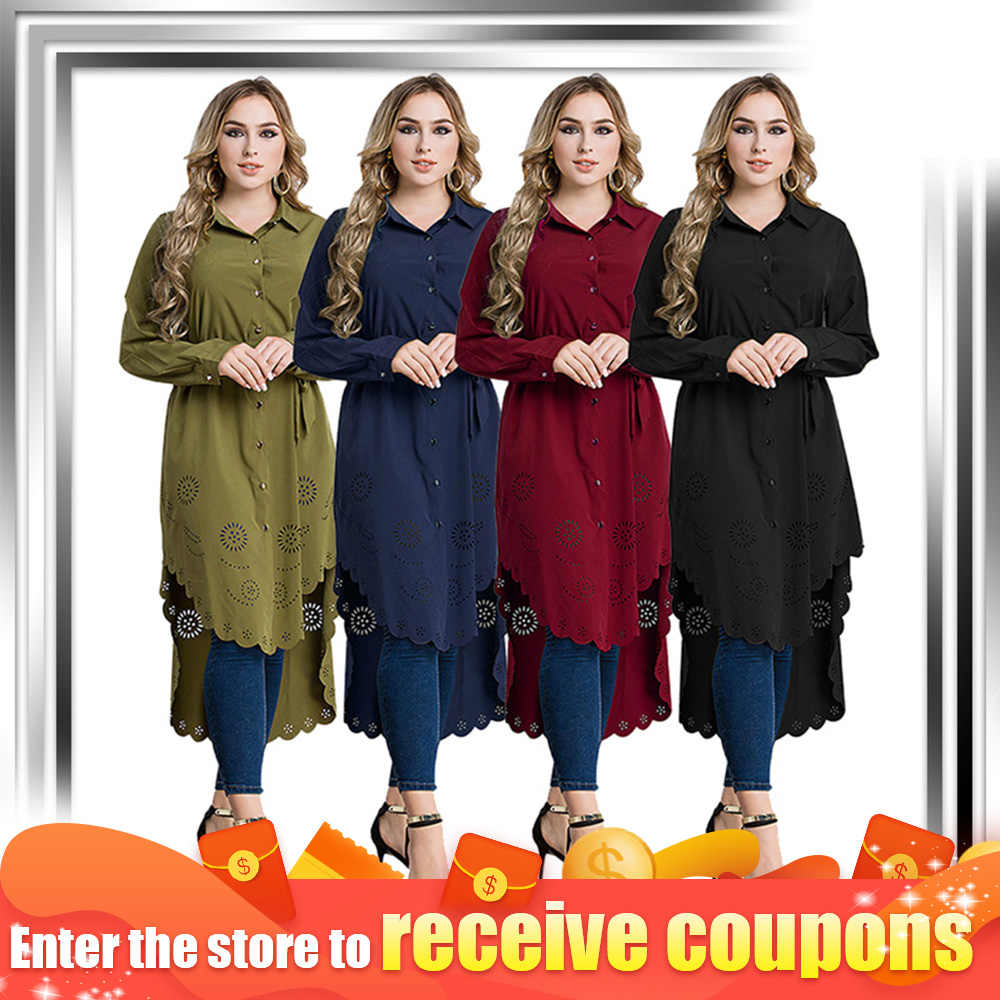Long Sleeve Loose Blouse Plus Size Tunic Blouse For Female  Kaftan Women Muslim Shirt Tops Islamic Clothes Arab