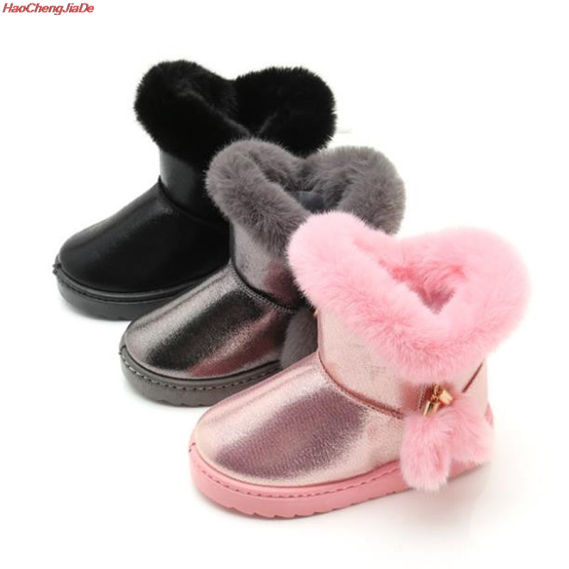Toddler Snow Boots For Girls Winter Shoes Casual Shoe Girls Princess Boots Kids Warm Boot Plush Children Velvet Boots     - title=