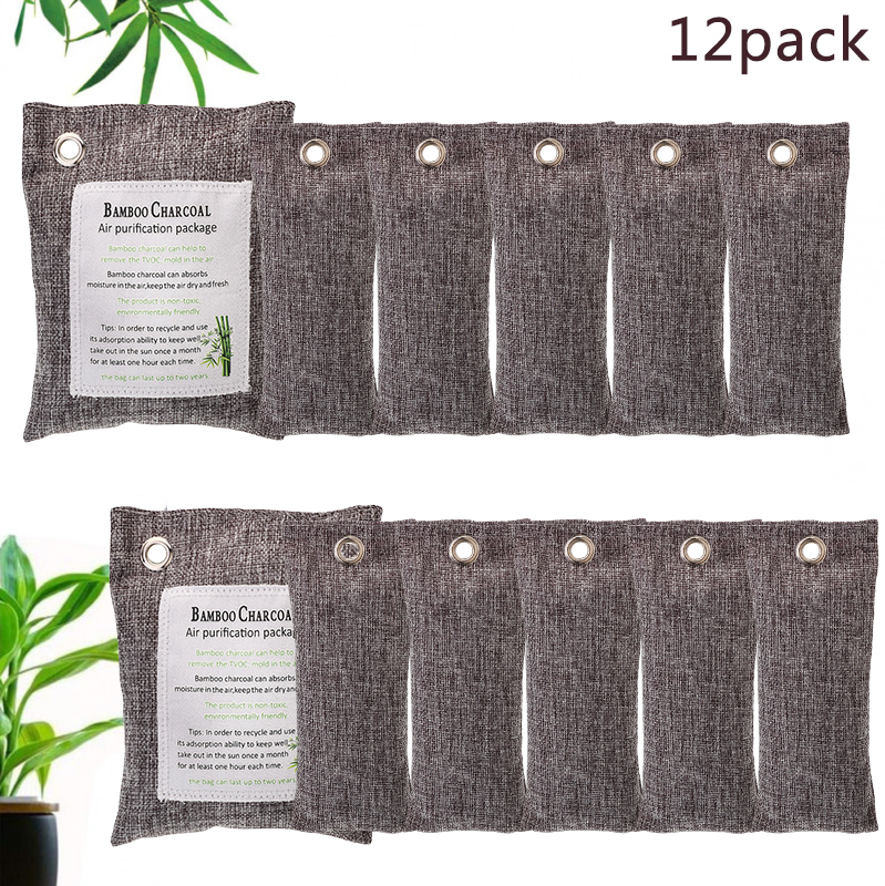 12Pack Natural Bamboo Charcoal Bag Activated Air Purifying Formaldehyde Absorber 2*200g+10*75g Effectively Remove Odor