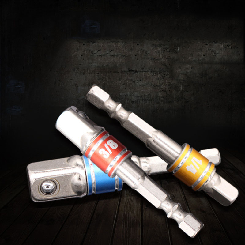 3pcs Colorful Seat Belt Cead Socket Adapter Drill BIts Sleeve Connecting Rod AD Connecting Rod With Steel Ball 1/2'' 1/4'' 3/8''