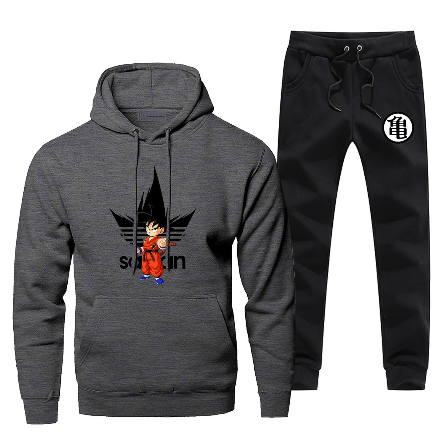 Dragon Ball Z Men's Sets Brand Man Tracksuit Super Saiyan Print Men's Joggingt Harajuku Fleece Pants Hoodies Japan Anime Male Se