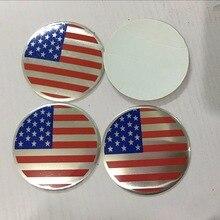 4pcs 56.5mm America USA Nation Flag Car Door Wheel Center Hub Caps Cover Rim Sticker
