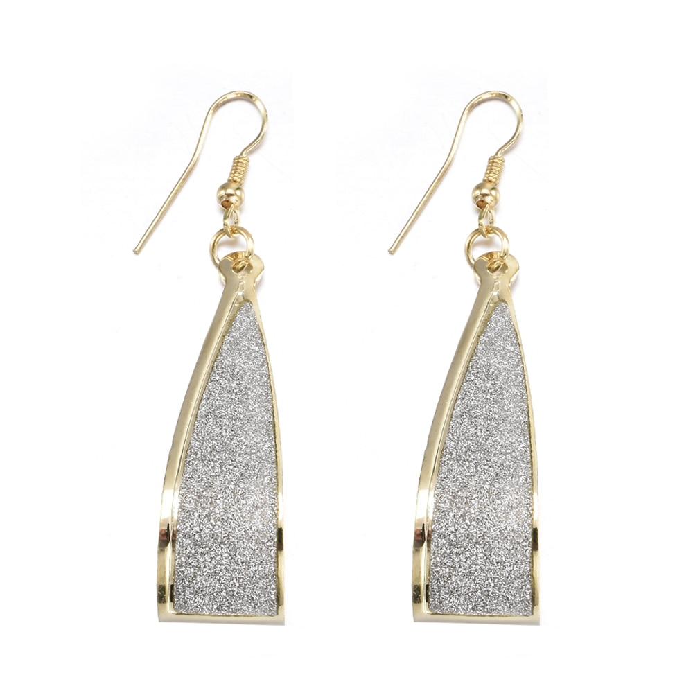 Gold Crystal Scrub Drop Hook Dangle Earrings Long earring Pendientes For Women Er838