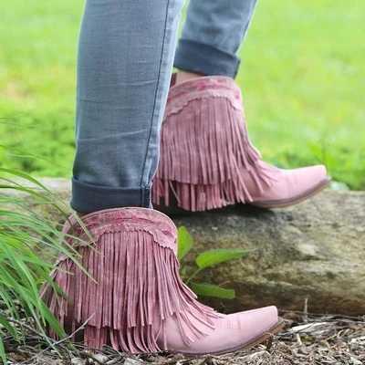 MoneRffi kadın botları saçaklı sivri burun kısa çizme kalın topuk Retro Vintage ayak bileği botları kadın ayakkabı katı püskül patik 2019