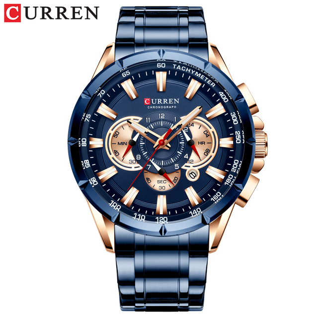 CURREN Wrist Watch Men Waterproof Chronograph Military Army Stainless Steel Male Clock Top Brand Luxury Man Sport Watches 8363 2
