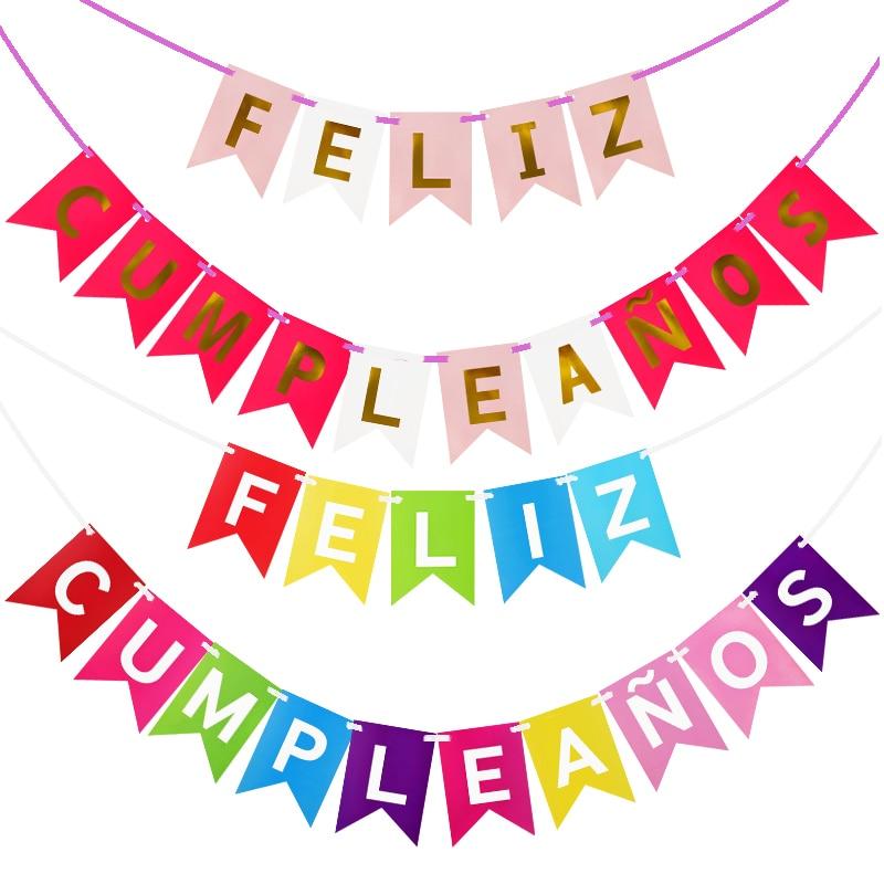 Glücklich Geburtstag Banner Dekorationen Kinder Geburtstag Dekorative Hängen Spanisch Brief Alphabet Feliz Cumpleaños Bunting Flags