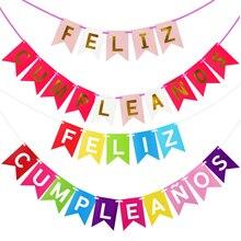 Cartel de Feliz Cumpleaños para niños, Decoración de Cumpleaños, colgante decorativo letra española, alfabeto Feliz, banderines