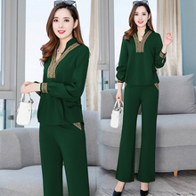 Plus Large Size Womens Suit Two Piece Set Top And Wide Loose Pant 2019 Winter Autumn Green Clothing One Matching Sets