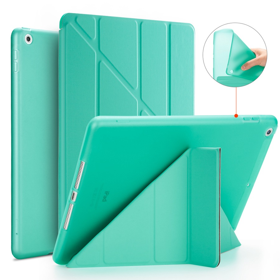 green Purple Soft Silicon PU Leather Case For Apple iPad 10 2 2020 Smart Stand Cover For iPad