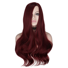 QQXCAIW 26 inch Long Wavy Wig For Women Wine Red Cosplay Party Female Heat Resistant Synthetic Hair Wigs Cosplay Party