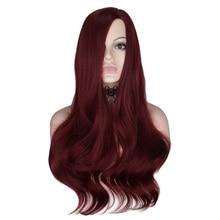 QQXCAIW 26 インチロング波状のかつらワイン赤コスプレパーティー女性耐熱人工毛かつらコスプレパーティー