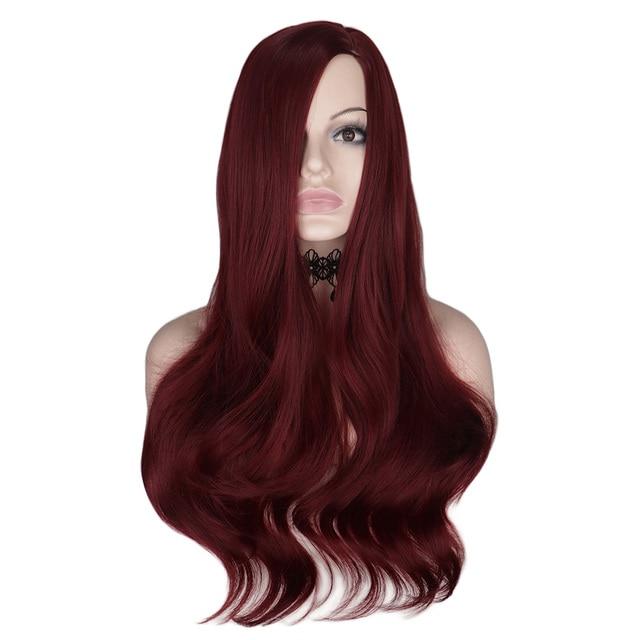 QQXCAIW 26 بوصة طويل الباروكة متموجة للنساء النبيذ الأحمر تأثيري حزب الإناث مقاومة للحرارة الاصطناعية خصلات الشعر المستعار تأثيري حزب