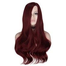 Qqxcaiw 여성을위한 26 인치 긴 물결 모양 가발 와인 레드 코스프레 파티 여성 내열성 합성 머리 가발 코스프레 파티