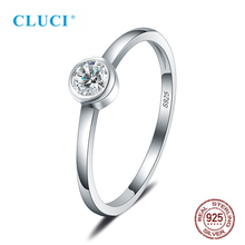 CLUCI Silver 925 Single Zircon Women Wedding Rings Jewelry for Engagement Simple Classic Round Brand