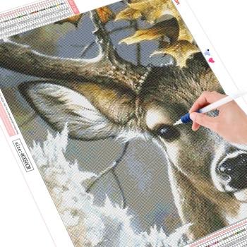 HUACAN Diamond Painting Deer Full Square 5D DIY Diamond Embroidery Mosaic Animal Rhinestone Handmade Decor