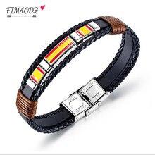 Fimaodz 2020 mais novo espanha bandeira pulseira homens de aço inoxidável vintage handwoven multicamadas pulseiras couro alta qualidade jóias
