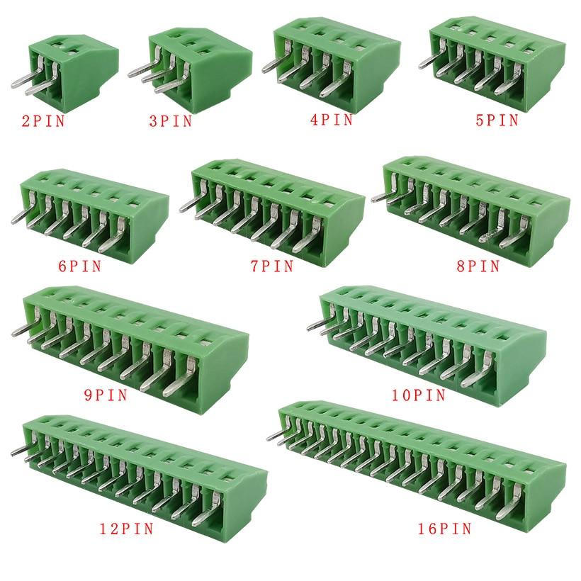 5 uds. KF128-2.54mm Terminal de empalme 2/3/4/5/6/7/9/10/12/16 Pines, conector PCB Bloque de terminales de tornillo, adaptador de montaje PCB
