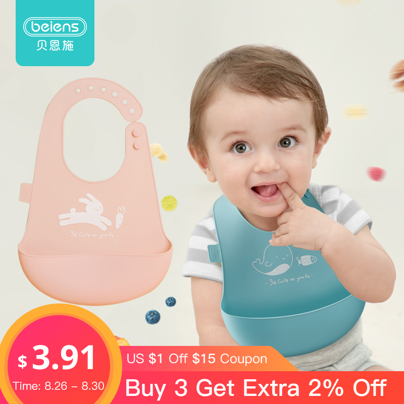 Beiens Baby Bibs Waterproof Stuff Newborn Adjustable Silicone Apron Bandana Bib Toddler Burp Cloths Kids Feeding Accessories