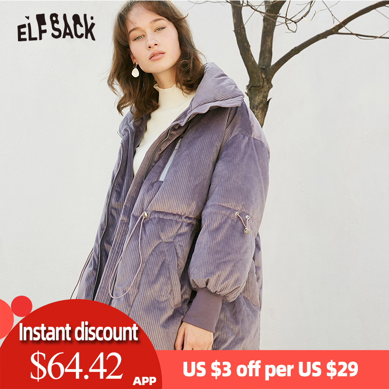 ELF SACK Solid Drawstring Pocket Zip Thick   Down   Jacket Women Long Oversize   Coat   2019 Winter Casual Female Outwear