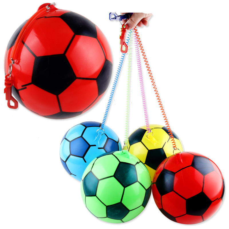 Inflatable Football Ball With Rope Colorful Bouncy Rubber Ball Beach Pool Play Early Education Soft Toys For Children Kids Baby image