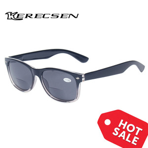 Image 3 - Bifocal Reading Glasses Grey Lens Fashion Men and Women Spring Hinge Plastic Presbyopia Glasses Outdoor fishing sunglasses