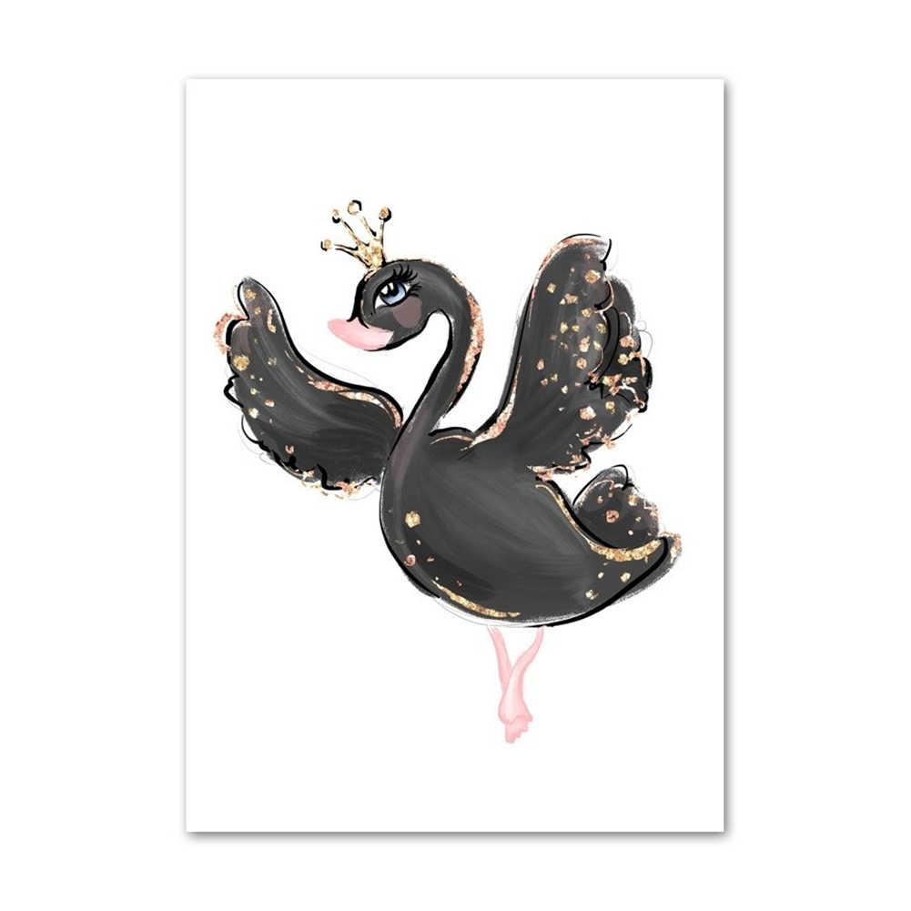 الشمال المشارك Un-مؤطرة قماش اللوحة سوان راقصة الباليه الحصان الكرتون طلاء جدران فتاة الاطفال ديكور غرفة نوم ديكور المنزل