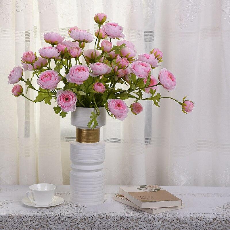 Искусственные цветы, 65 см, Три головки, красивый Лотос росы, свадебная мебель для дома, высококачественные декоративные искусственные цветы