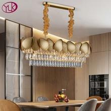 高級現代のクリスタルシャンデリアダイニングルームデザインキッチン島チェーン照明器具ゴールド家の装飾クリスタルランプ