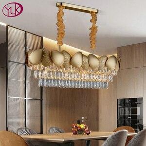 Image 1 - الفاخرة الحديثة كريستال الثريا لغرفة الطعام تصميم المطبخ جزيرة سلسلة تركيبة إضاءة مصباح الذهب ديكور المنزل كريستال