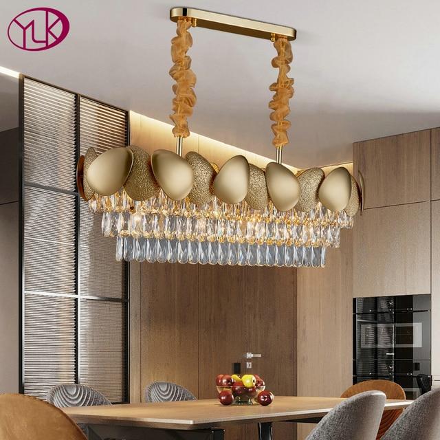 الفاخرة الحديثة كريستال الثريا لغرفة الطعام تصميم المطبخ جزيرة سلسلة تركيبة إضاءة مصباح الذهب ديكور المنزل كريستال