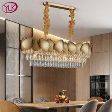 Luxo moderno lustre de cristal para sala jantar design cozinha ilha corrente luminária ouro decoração para casa lâmpada cristal