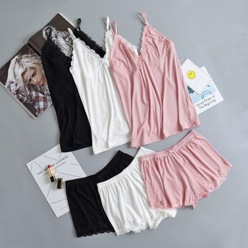 QWEEK Two Piece Cotton Pajama Set Pyjamas Sleepwear Smmer Sexy Lace Pijama Spaghetti Strap Lounge Wear Top And Shorts 2020
