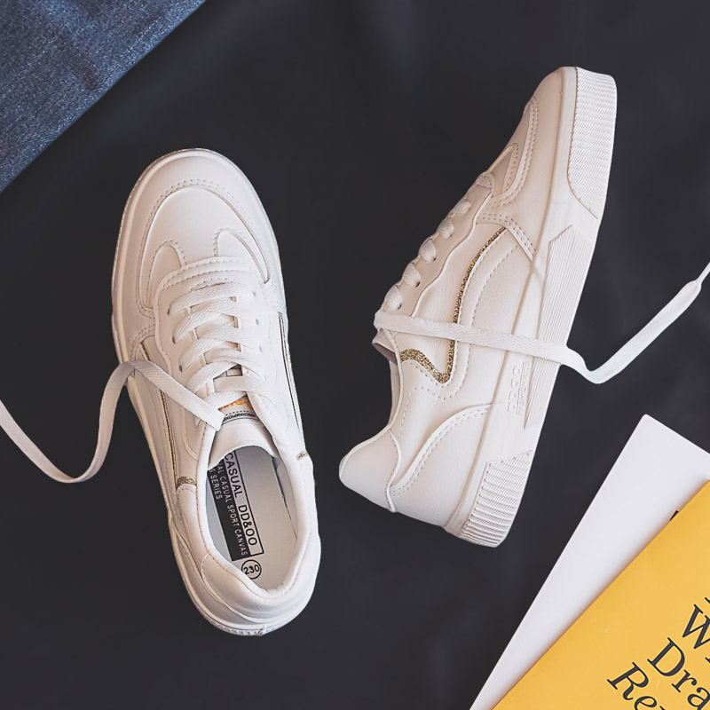 Women Vulcanize Shoes New Spring Breathable Fashion Breathable Leather Sneakers White Shallow Flat Sports Shoes Women