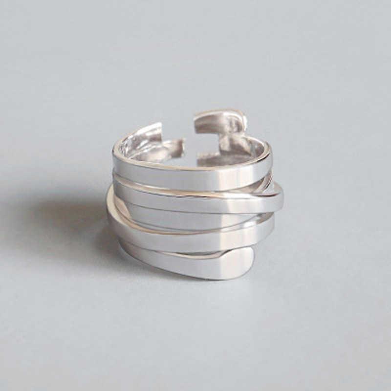 De alta calidad de moda de Plata de Ley 925 Plata geométrica capa sonrisa cara ajustable anillos para las mujeres al por mayor de la joyería
