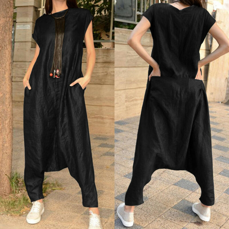 NEW Women Casual Baggy Casual Loose Short Sleeve Jumpsuit Romper Playsuit Overall Harem Pants Plus Size