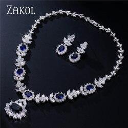 ZAKOL Luxury White Color Dark Blue AAA Cubic Zirconia Jewelry Sets for Elegant Bridal Wedding Flower Jewelry FSSP112