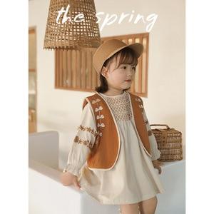 Image 4 - فستان للأطفال بناتي الوطني نمط فستان مطرز 2020 ربيع جديد موضة فستان طفل ملابس طفلة