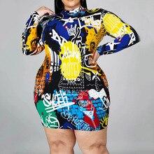 High Street Sexy Dress Trendy Hipster Elastic Designer Best Sellers Springtime The New Printing Graffiti Long Sleeve Dress