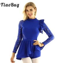 Женское блестящее кружевное балетное платье TiaoBug с длинными рукавами и блестками, гимнастическое трико, боди, костюм для выступлений и танцев