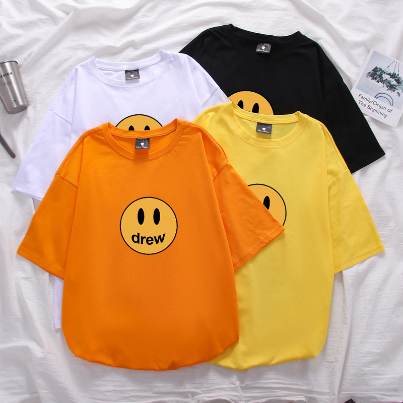 Justin Bieber Drew House Men Women Cotton Best Quality Top Tees Tshirt Summer Style Drew House Long Sleeve T-Shirts Street Wear