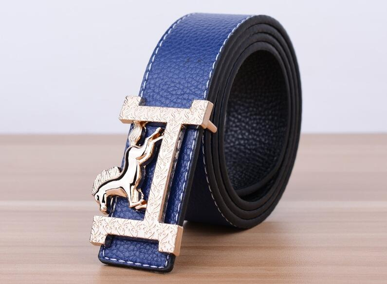 New Designer Luxury H Brand Male Belts Fashion High Quality Male Women Jeans Belt Metal Smooth Buckle Leisure Waist Belts