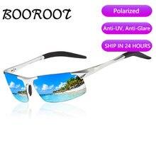 Haute qualité en aluminium magnésium Sport lunettes de soleil polarisées hommes UV400 Rectangle en plein air conduite lunettes de soleil BOOROOT