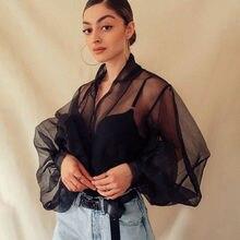 Новинка года; Модные осенние женские тонкие Блузы с рукавами-пузырьками и v-образным вырезом; элегантная сетчатая рубашка Блузы Топы