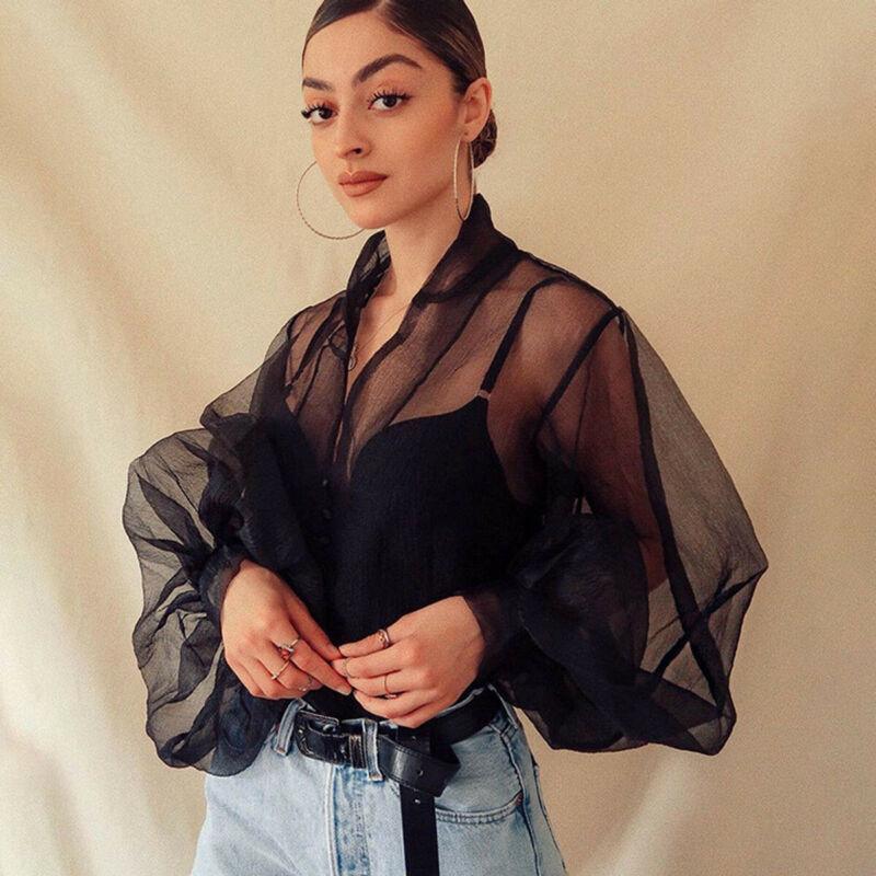 2019 New Fashion Autumn Women's Perspective Bubble Sleeve V Neck Button Gauze Blouses Ladies Elegant Mesh Shirt Blusas Tops